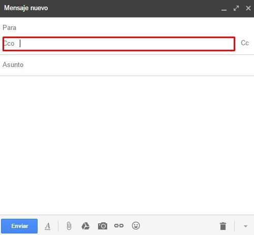 Enviar un correo CCO en Gmail