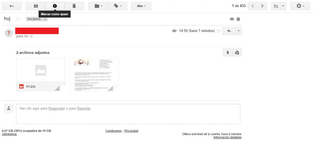 Marcar como spam un correo en Gmail